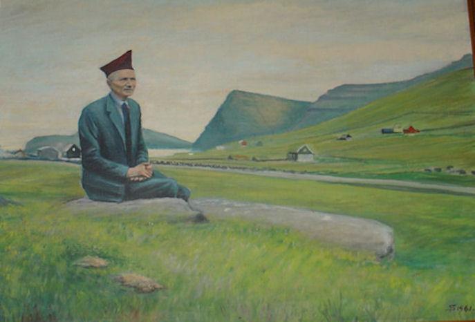 Soleiðis minnist eg Jóan Jakki. Sigmundur Petersen málaði málningin í 1961. Vit eru stødd á Víðareiði. (Mynd Vagnur)