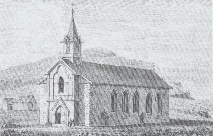 Katólska kirkjan í Kirkjbø kundi verið liðugtbygd í 1865. (Mynd Fólkini Úti á Bø)