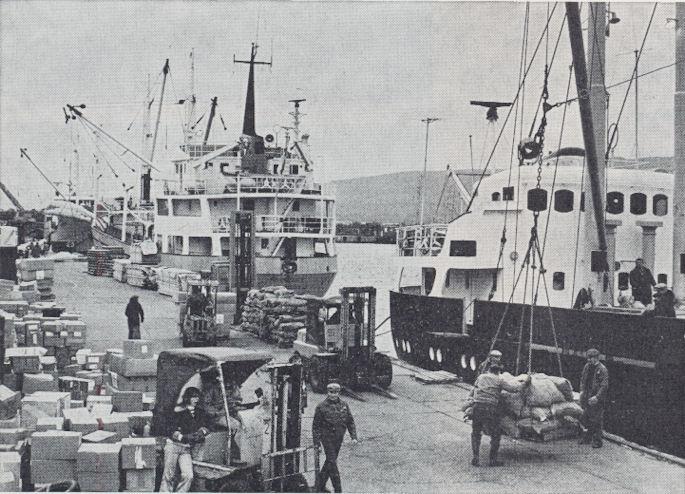 Arbeiðsmenn, trukkar og vøra hvørt um annað á Eystaru bryggju miðskeiðis í 1970 árunum.