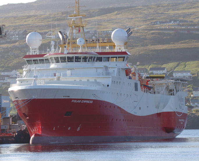 Polar Empress bygt í 2015 er 112 metrar langt og 21 metrar breitt. Bruttovektin er 4000 tons. (Mynd Vagnur)